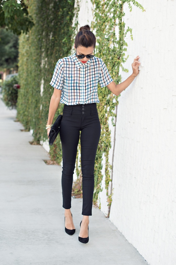 checkered top, black skinny jeans - STYLE ME GRASIE