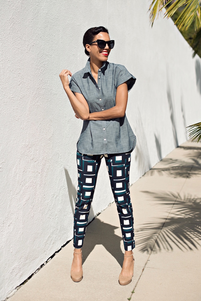 chambray top + printed pants street style