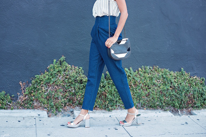 striped top + high waist jeans - STYLE ME GRASIE